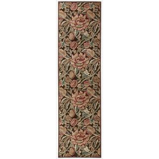 Nourison Graphic Illusions Floral Brown Multi Color Rug (2'3 x 8')