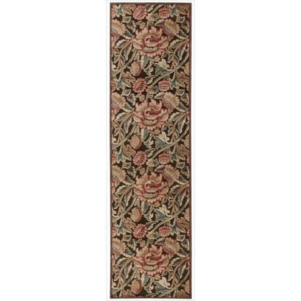 "Nourison Graphic Illusions Floral Brown Multi Color Rug - 2'3"" x 8'"