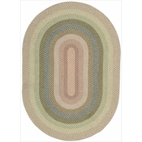 Nourison Hand-woven Craftworks Braided Coral Multi Rug (7'6 x 9'6) Oval