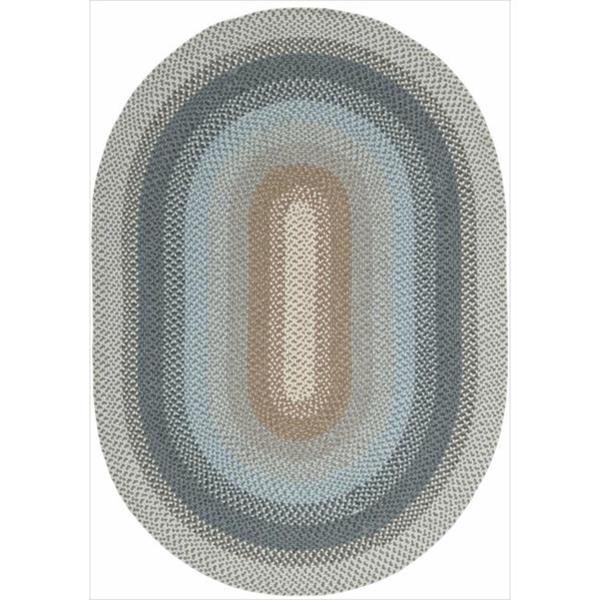 Nourison Hand-woven Craftworks Braided Blue Multi Rug (5' x 7') Oval