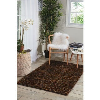 Nourison Fantasia Brown Shag Area Rug (5'6 x 7'5)
