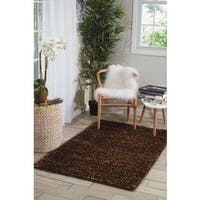 "Nourison Fantasia Brown Shag Area Rug - 5'6"" x 7'5"""