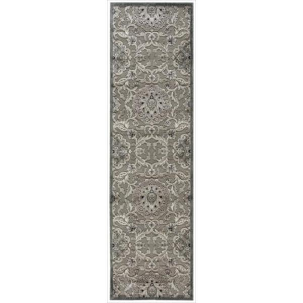 Nourison Graphic Illusions Grey Modern Traditional Rug (2'3 x 8')