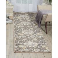 "Nourison Graphic Illusions Floral Grey Rug - 2'3"" x 8'"