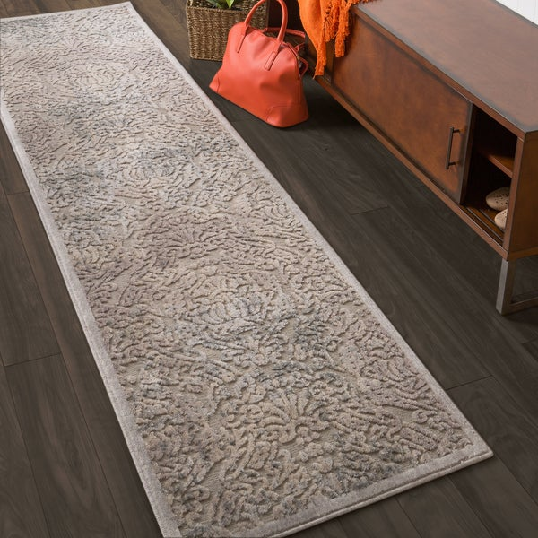 "Nourison Graphic Illusions Grey Vintage Distressed Runner Rug - 2'3"" x 8'"
