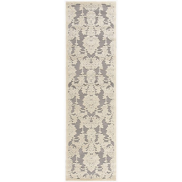 Nourison Graphic Illusions Damask Ivory Latte Rug (2'3 x 8')