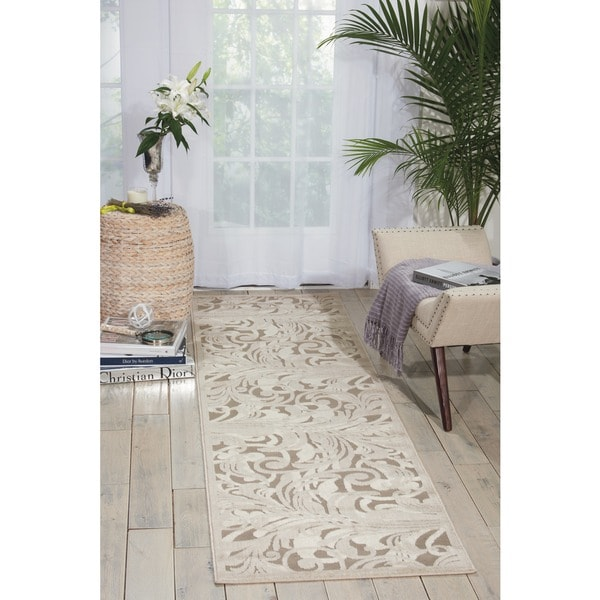 Nourison Graphic Illusions Silver Swirl Transitional Multi Rug (2'3 x 8')