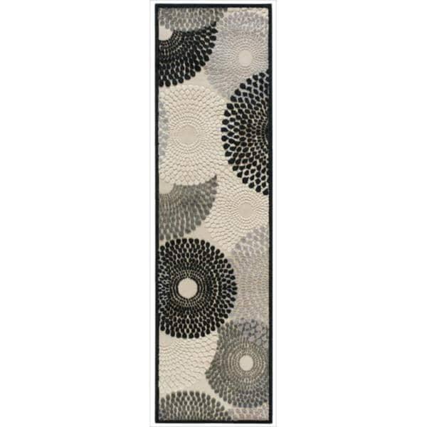 Nourison Graphic Illusions Circular Black Multi Color Rug (2'3 x 8')