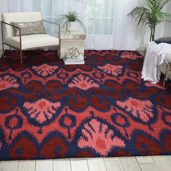 """Nourison Hand-tufted Siam Red Navy Blue Rug - 5'6"""" x 7'5"""""""