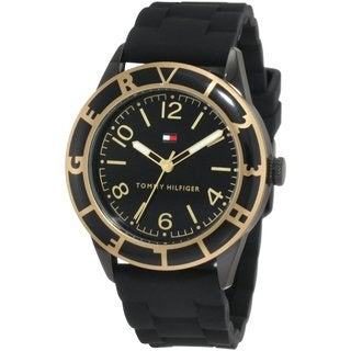 Tommy Hilfiger Women's Goldplated Black Silicon Strap Sport Watch