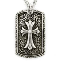 Stainless Steel Antiqued Dog Tag with Cross Necklace
