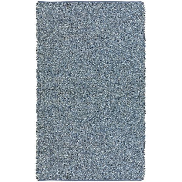 Hand-tied Pelle Blue Leather/ Denim Shag Rug (4' x 6')
