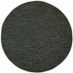Hand-woven Matador Black Leather Rug (6' Round)