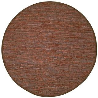 Hand-woven Matador Brown Leather Rug (6' Round)