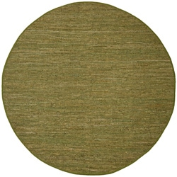 Hand-woven Matador Green Leather Rug (6' Round)