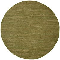 Hand-woven Matador Green Leather Rug (6' Round)