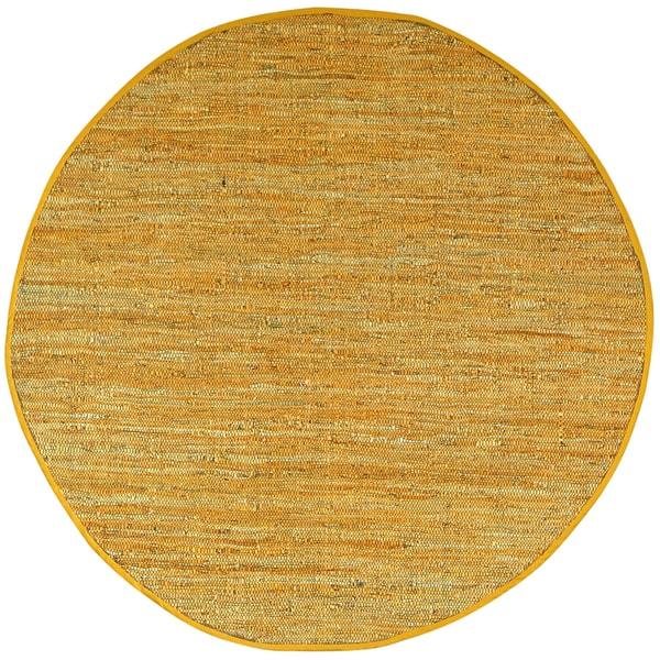 Hand-woven Matador Gold Leather Rug (6' Round)