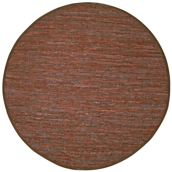 Handwoven Matador Brown Leather Area Rug (8' Round)