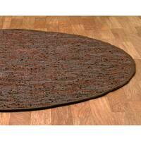 Handwoven Matador Brown Leather Area Rug - 8' Round