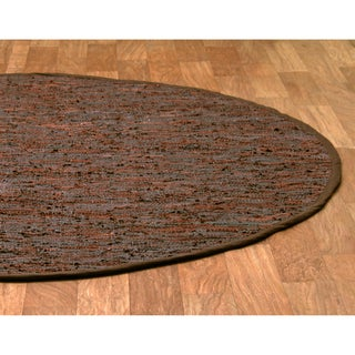 Handwoven Matador Brown Leather Area Rug (8' Round) - 8' x 8'