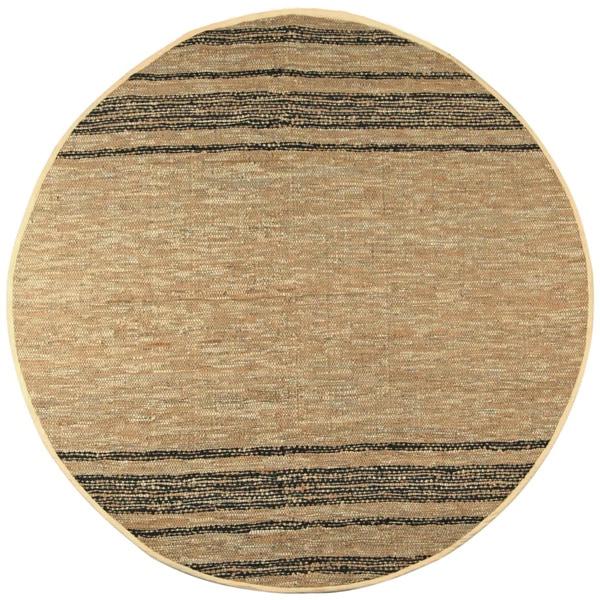 Hand-woven Matador Tan Leather Rug (8' Round)