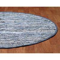 Hand-woven Blue Leather/ Denim Rug (6' Round) - 6' x 6'