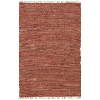 Hand-woven Matador Copper Leather/ Hemp Rug (2'6 x 4'2)