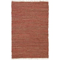 Hand-woven Matador Copper Leather/ Hemp Rug (5' x 8') - 5' x 8'