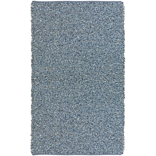 Hand-tied Pelle Blue Leather/ Denim Shag Rug - 5' x 8'