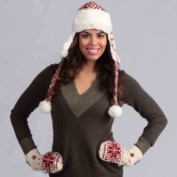 Muk Luks Women's Candy Apple Trapper Hat with Flip Gloves Set