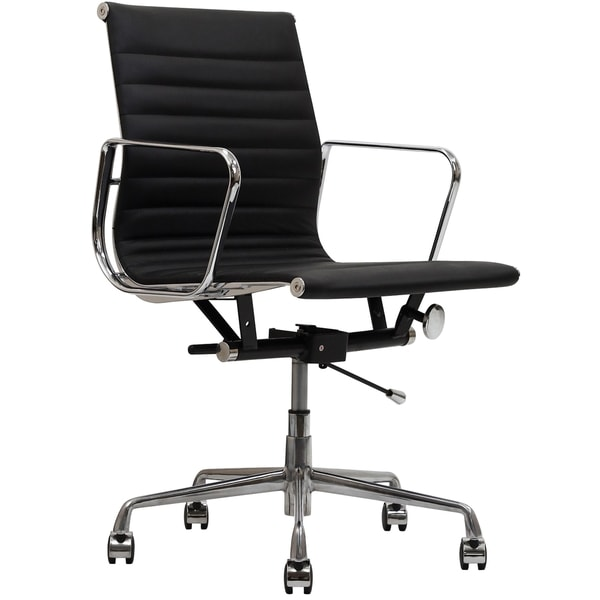 black genuine leather ribbed mid back office chair free