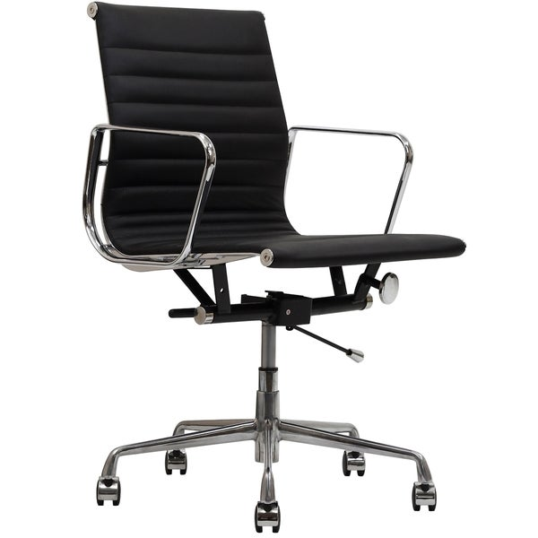 black genuine leather ribbed mid back office chair - free shipping