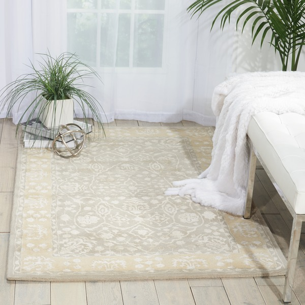 Nourison Hand-tufted Symphony Bordered Blue Mist Rug (8' x 11') - 8' x 11'