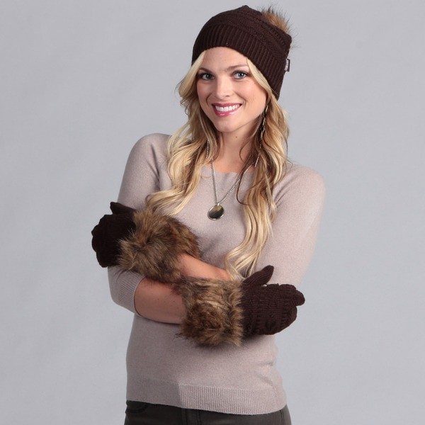 Muk Luks Women's Beanie with Mittens Set