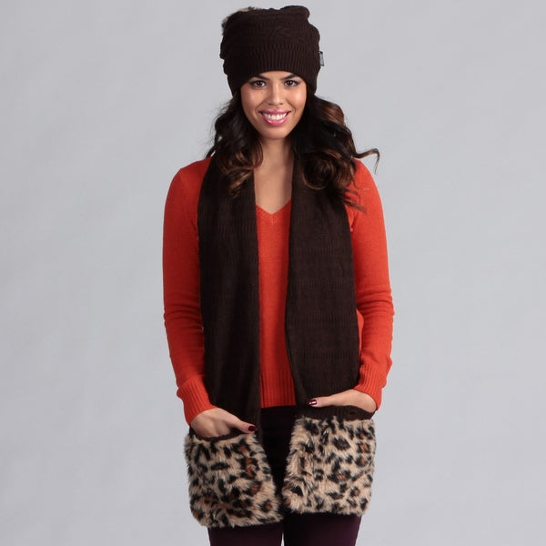 Muk Luks Women's Java Pom Beanie with Pocket Scarf Set