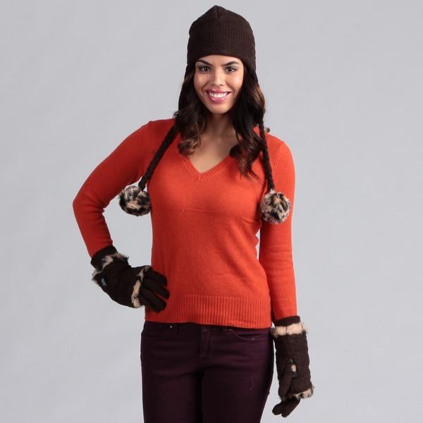 Muk Luks Women's Java Pom Hat with 3-in-1 Gloves Set