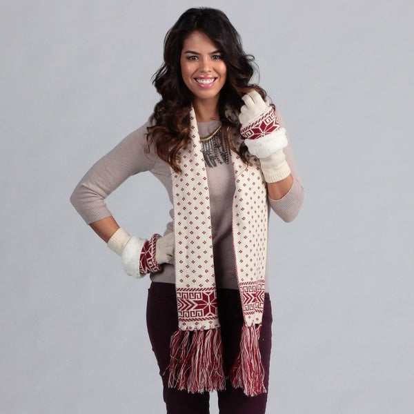 Muk Luks Women's Candy Apple Gloves with Arm Warmers and Scarf Set
