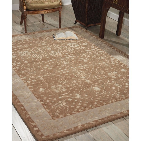 Nourison Hand-tufted Symphony Bordered Warm Taupe Rug - 8' x 11'