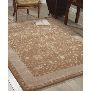 Nourison Hand-tufted Symphony Bordered Warm Taupe Rug (8' x 11')