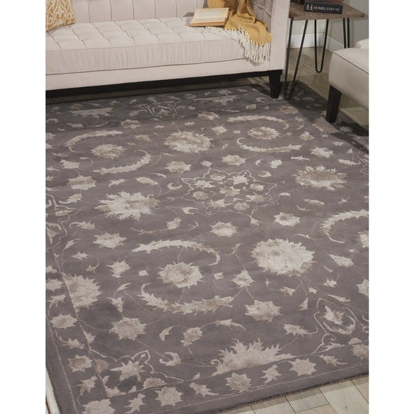 Nourison Hand-tufted Symphony Traditional Taupe Rug (8' x 11') - 8' x 11'
