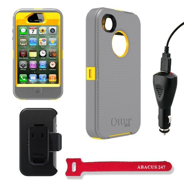 Otterbox Defender Apple iPhone 4/4S Protector Case with Car Charger and Hook and Loop Cable Tie