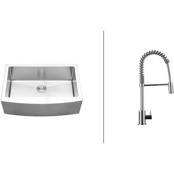 Ruvati RVC2421 Stainless Steel Kitchen Sink and Polished Chrome Faucet Set