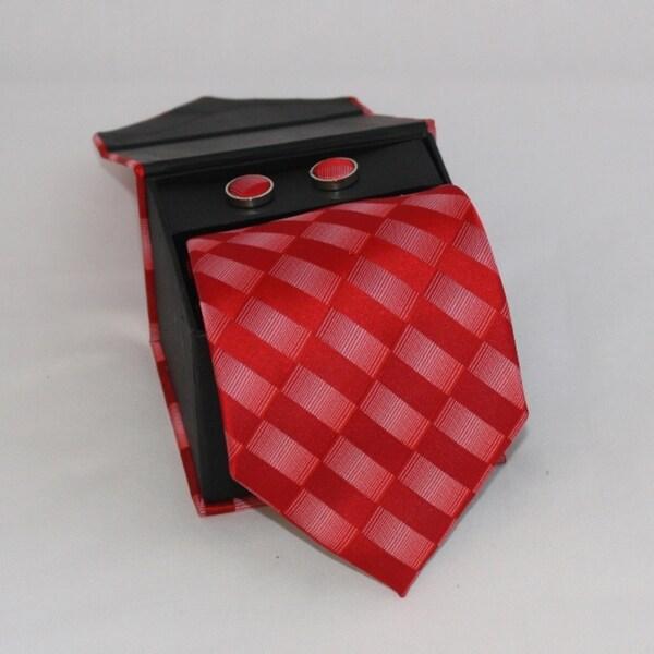 Ferrecci Men's 3-piece Red Checkered Necktie Set