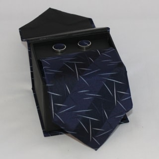 Ferrecci Men's 3-piece Navy Lined Necktie Set