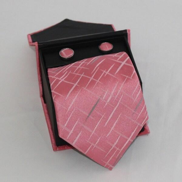 Ferrecci Men's 3-piece Pink Square Necktie Set