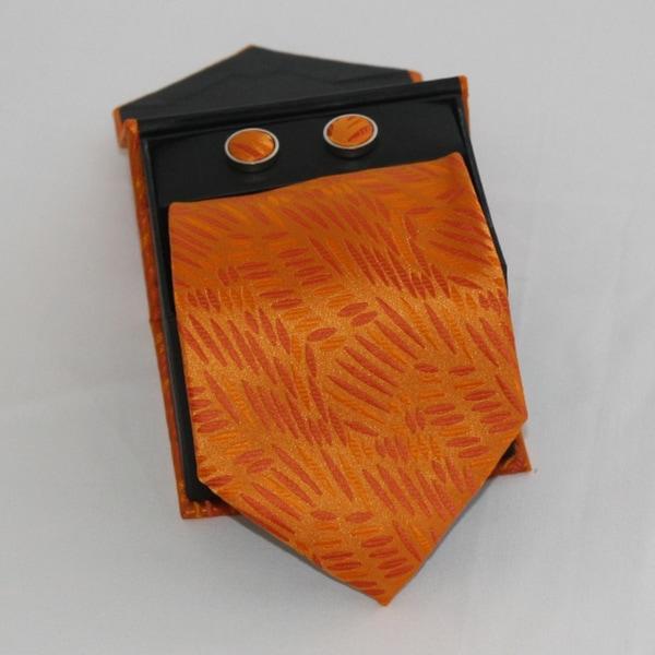 Ferrecci Men's 3-piece Orange Grain Necktie Set
