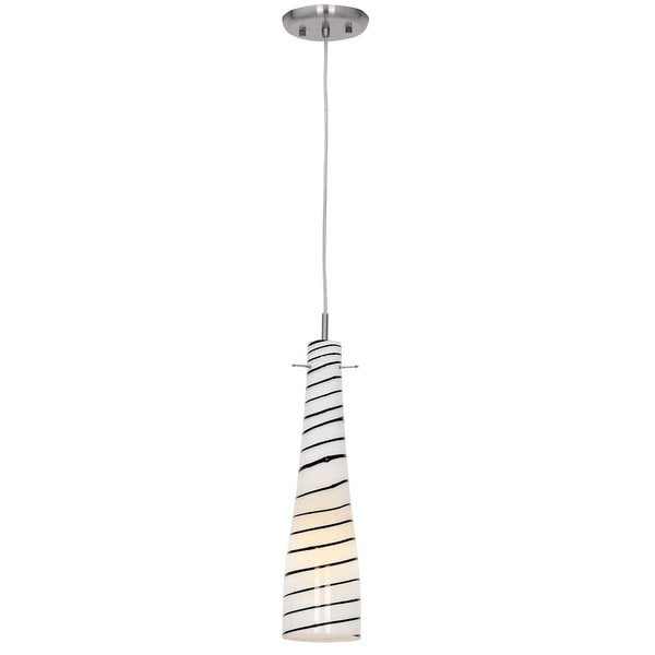 Access 'Roxy' 1-light Brushed Steel Glass Pendant