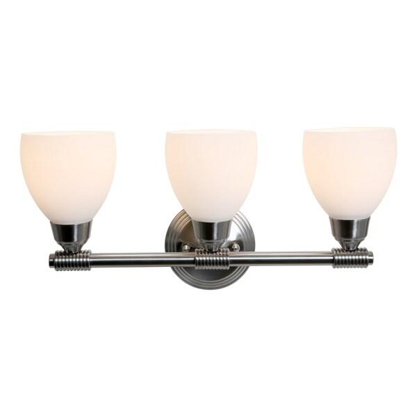 Access 'Greko' 3-light Brushed Steel Vanity Fixture