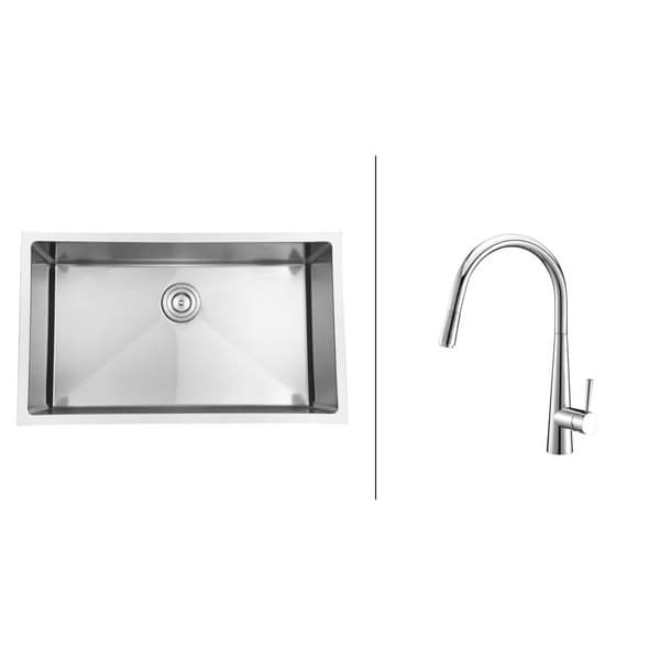 Ruvati RVC2302 Stainless Steel Kitchen Sink and Polished Chrome Faucet Set