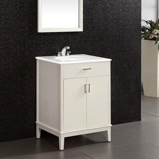 WYNDENHALL Oxford White 2-door 24-inch Bath Vanity Set with White Quartz Marble Top